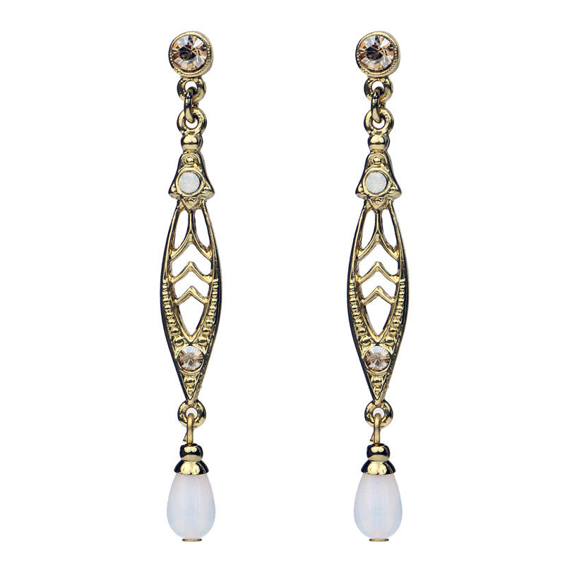 Gold Crystal Pearl Linear Post Drop Earrings - Ben-Amun