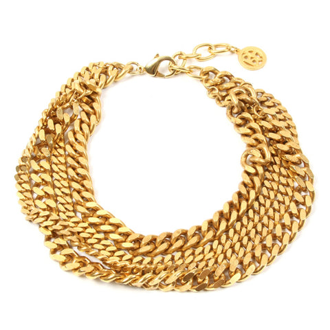 Four Row Gold Chain Necklace - Ben-Amun