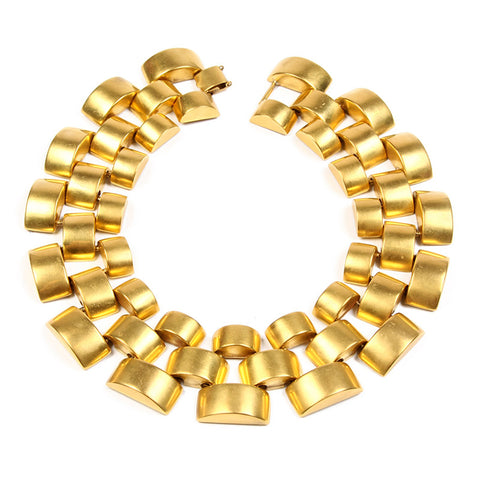 Gold Round Pyramid Necklace - Ben-Amun