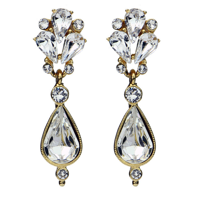 Crystal Pear Post Gold Earrings - Ben-Amun