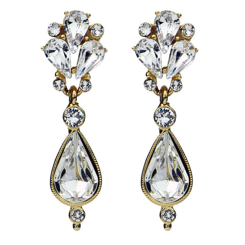 Crystal Pear Cut Post Earrings - Ben-Amun