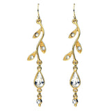 Leaf Crystal Gold Drop Earrings - Ben-Amun