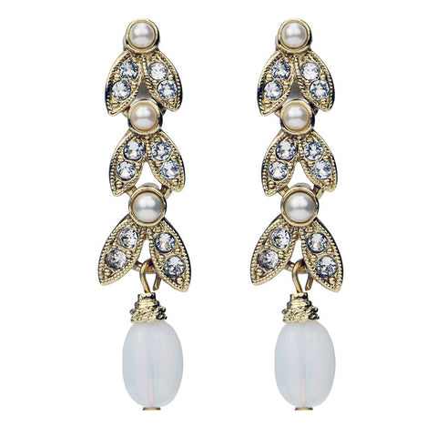 Crystal Marquise Cut Pearl Drop Earrings - Ben-Amun