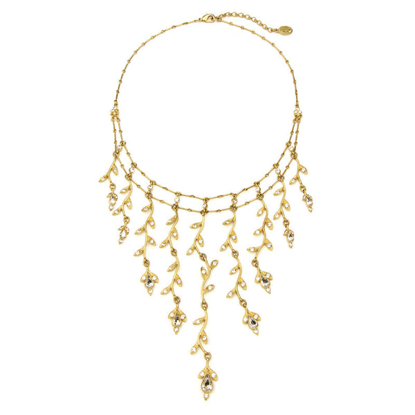 Gold Multi Leaf Crystal Necklace - Ben-Amun