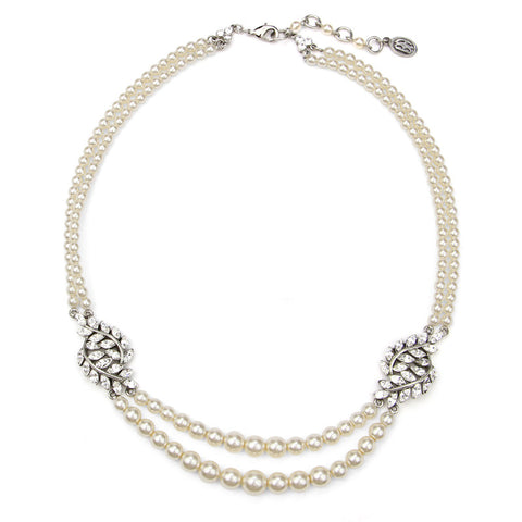 Crystal Leaf Marquise Cut Station Pearl Necklace - Ben-Amun