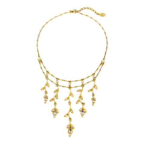 Gold Leaf Crystal Necklace - Ben-Amun