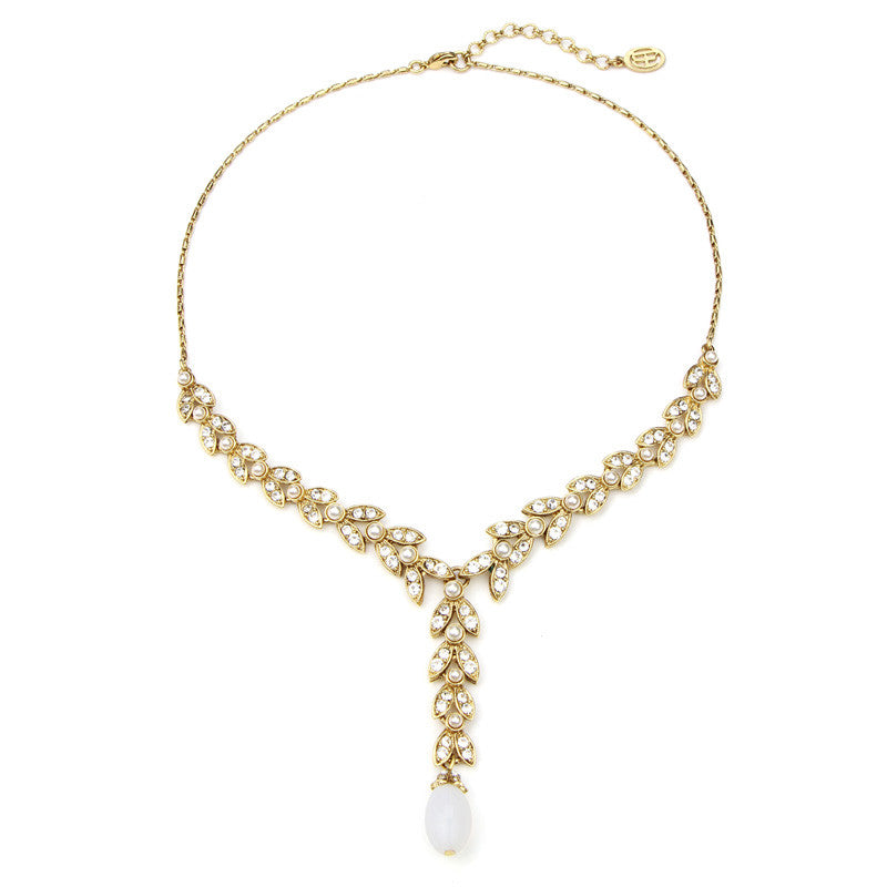 Leaf Crystal Marquise Y Necklace - Ben-Amun