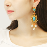 Solaire Opal Drop Earrings | Summer Vacation Statement Turquoise and Coral Earrings | Ben-Amun