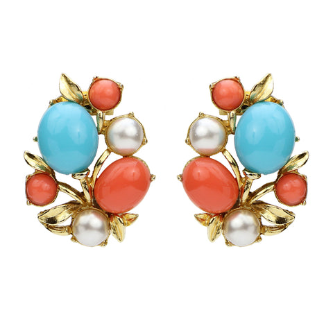 Solaire Statement Earrings | Turquoise Coral Pearl Crystal Clip Statement Earrings | Summer Style Accessories
