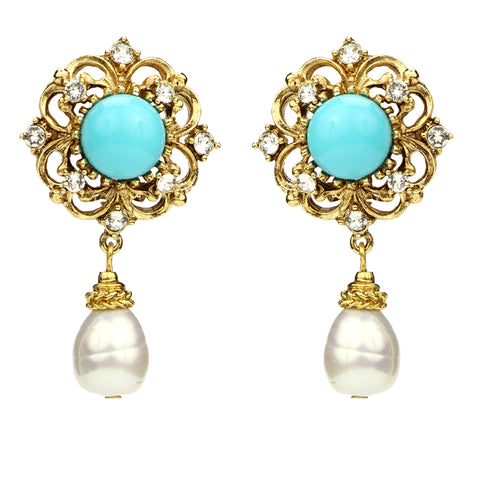 Solaire Drop Earrings | Turquoise Stone Pearl Drop Statement Earrings | Vacation Earrings | Ben-Amun