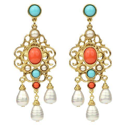 Solaire Pearl Drop Earrings | Turquoise Coral Pearl Statement Chandelier Drop Earrings | Ben-Amun
