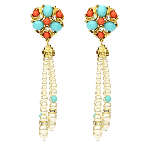 Solaire Pearl Tassel Earrings | Turquoise Coral Pearl Statement Earrings | Ben-Amun