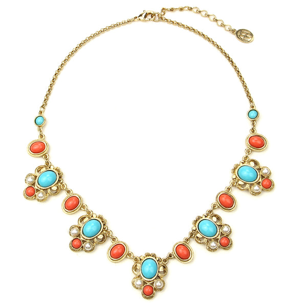 Solaire Statement Necklace | Turquoise Coral Stone Statement Necklace | Ben-Amun