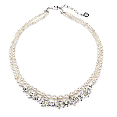 Crystal Marquise Round Cut Pearl Necklace - Ben-Amun