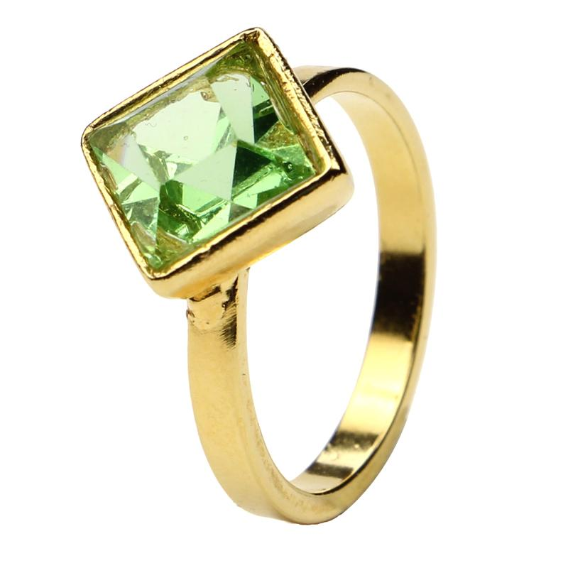 The Art of Layering Diamond Green Ring | Ben-Amun Jewelry | Resin Jewelry | Gold Ring | Summer Accessories | Playful Jewelry | Fun Jewelry | Women's Rings | Biggest Jewelry Trends | Colorful Rings | Knuckle Rings | Summer Fashion | Accessory Trends