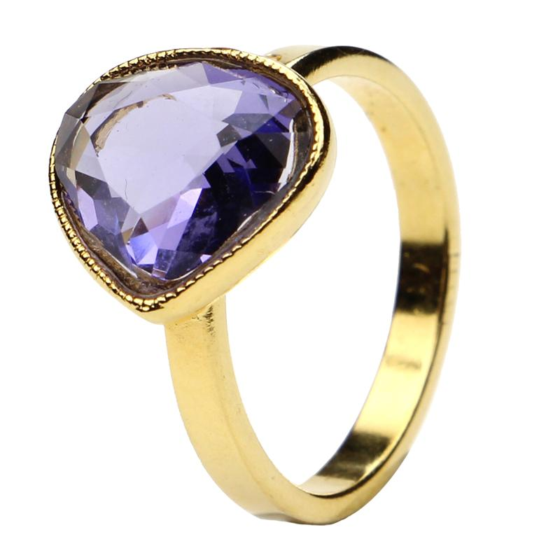 The Art of Layering Pear Purple Ring | Ben-Amun Jewelry