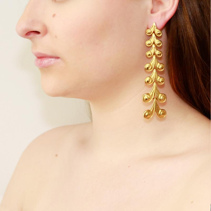 Helen of Troy Gold Aphrodite Long Drop Post Earrings - Ben-Amun