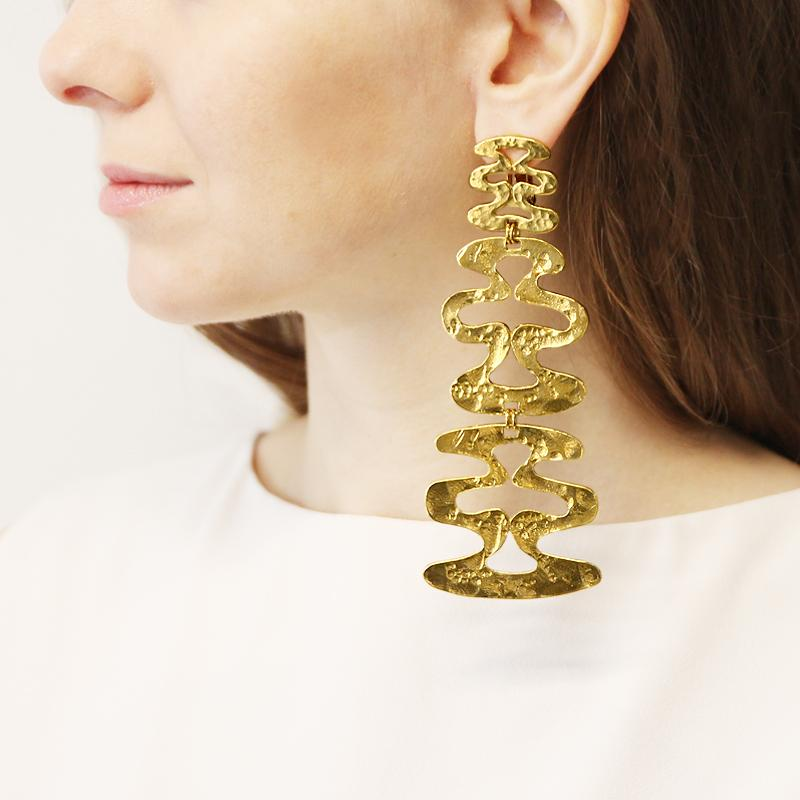 Helen of Troy Gold Wave Chandelier Clip Earrings - Ben-Amun