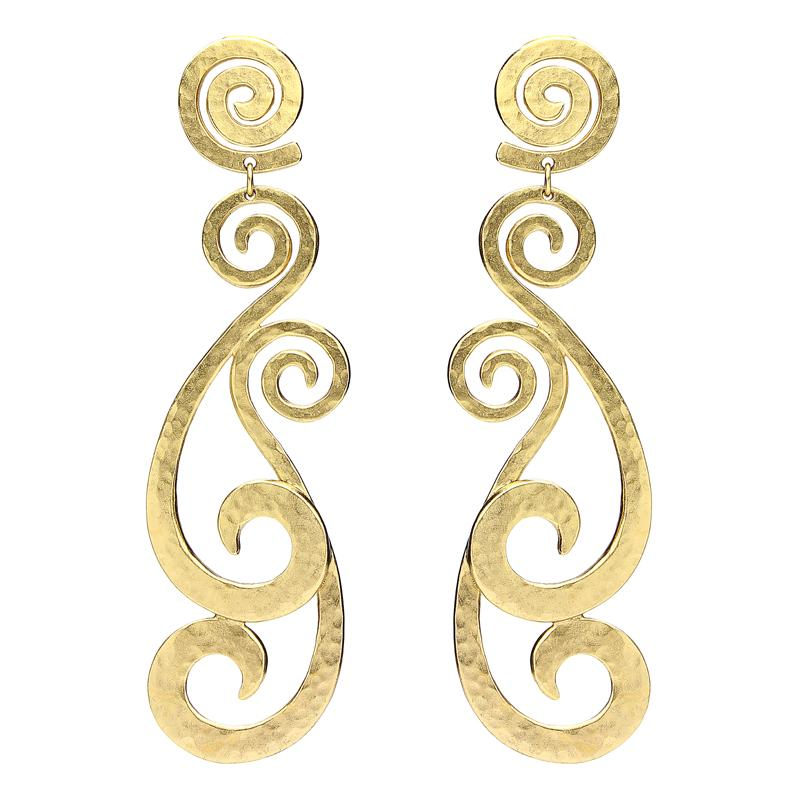 Helen of Troy Gold Swirl Chandelier Clip Earrings - Ben-Amun