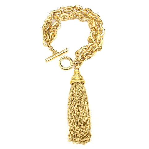 Gold Chain Link Bracelet with Tassel