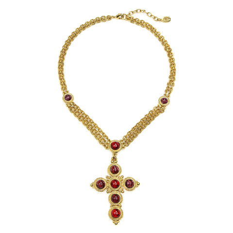 Romeo & Juliet Cross Ruby Necklace
