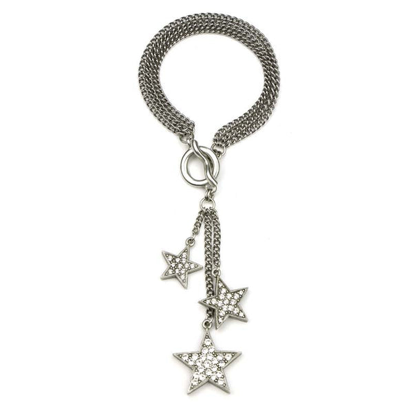 Rock Star Multi Chain Crystal Tassel Bracelet