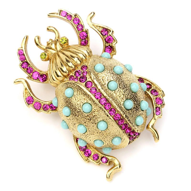 Love Bug Horn Insect Brooch - Ben-Amun