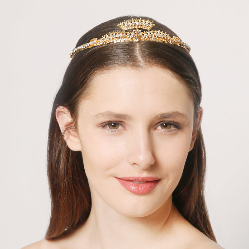 Gold Crown Tiara for Weddings and Brides by Ben-Amun. Handmade Headband.