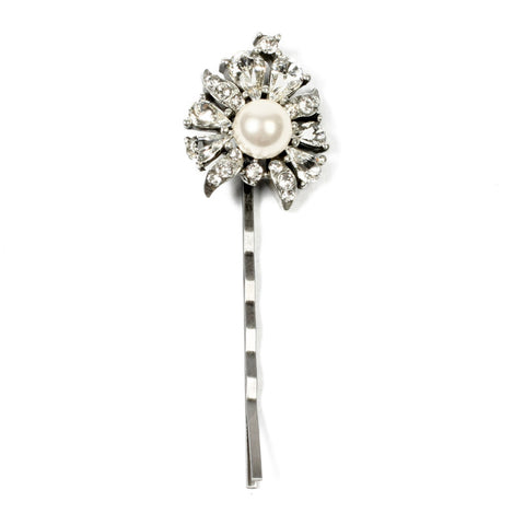 Vintage Bridal Hair Accessories. Pearl Crystal Floral Flower Hair Pin by Ben-Amun.