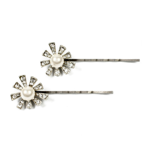 Set of 2 Pearl & Crystal Floral Bobby Pins | Ben-Amun Jewelry | Bridal Wedding Hair Accessories. Art Deco Hair Pin | Hair Barrettes | Crystal Hair Pins | Crystal Wedding Hair Pin Comb Clips | Decorative Hair Pins Wedding Vintage | Rhinestone Hair Pins | Bridal Hair Pins | Wedding Hairpins | Wedding Hair Pieces | Hair Ornaments | Flower Hair Piece | Bridesmaid Hair Flower Clips