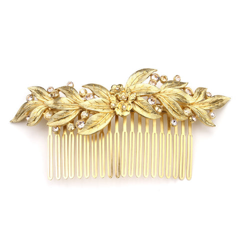 Gold Leaf Crystal Hair Comb by Ben-Amun. Wedding Bridal Hair Jewelry Accessories.