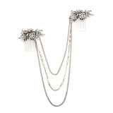 Pearl and Crystal Floral Hair Comb Necklace - Ben-Amun