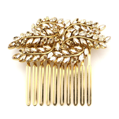 Gold Marquise Crystal Hair Comb | Ben-Amun Jewelry | Boho Hair Jewelry | Bohemian Head Pieces | Gold Wedding Hair Accessories | Gold Bridal Hair Accessories | Gold Hair Combs Wedding | Leaf Hair Accessory | Floral Decorative Hair Combs | Gold Leaf Wedding Hair Comb | Gold Fern Hair Comb | Gold Leaf Branch Natural Fairy Hair pin | Leaf Headpiece