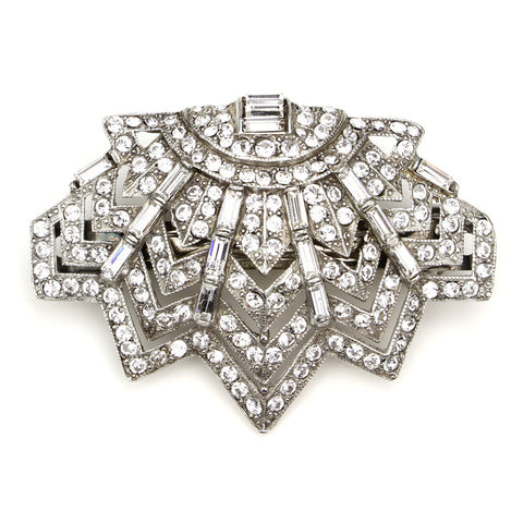 Art Deco Crystal Deco Hair Pin Barrette by Ben-Amun. Vintage Bridal Hair Accessories. Swarovski Crystal.