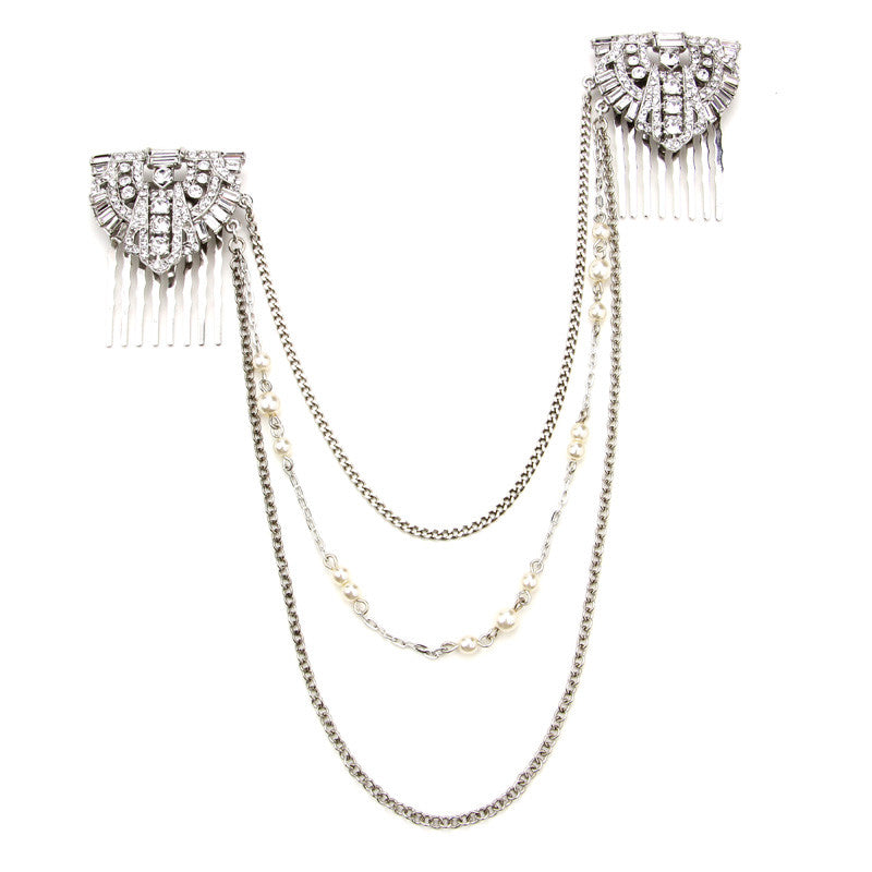 Pearl Crystal Deco Hair Comb Necklace by Ben-Amun. Hair Comb Attached. Back of Head Hair Chain Jewelry. Bridal Hair Headpiece