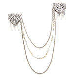 Pearl and Crystal Deco Hair Necklace - Ben-Amun