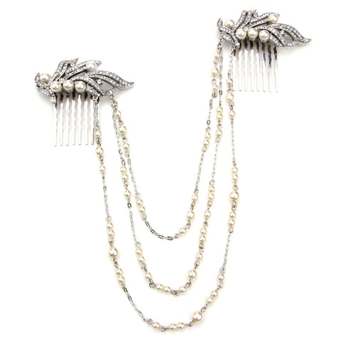 Pearl and Crystal Hair Comb Necklace - Ben-Amun