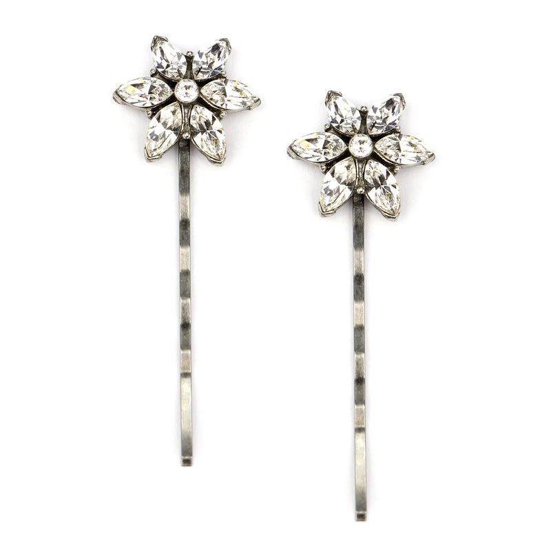Set-of-2 Floral Hair Pin | Ben-Amun Jewelry | Bridal Hair Accessories | Crystal Hair Pins | Floral wedding hair pins | Floral Hair Pieces | Wedding Hair Pins | Flower Hair Pins for Weddings | Flower Hair Accessories