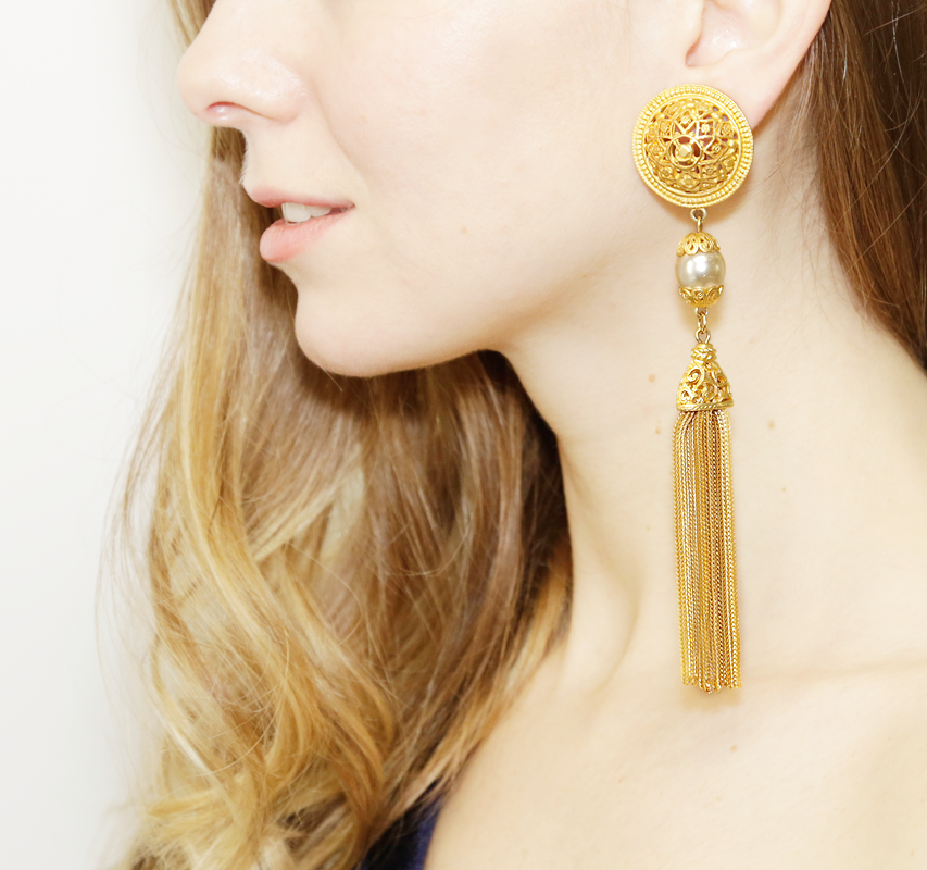Gold & Pearl Medallion Clip On Earrings with Gold Tassel - Ben-Amun