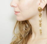 Gold & Pearl Tier Drop Clip On Earrings | Gold Earrings | Pearl Earrings | Statement Earrings | Ben-Amun