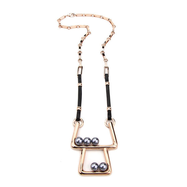 Modern Pearl Dual Deck Necklace with Leather Strip - Ben-Amun