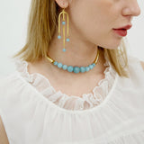 Semi Precious Chandelier Amazonite Stone Earrings