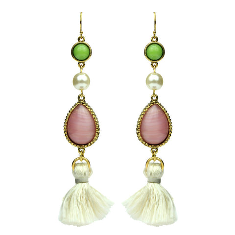 Spring Blush Garden Tassel Drop Earrings