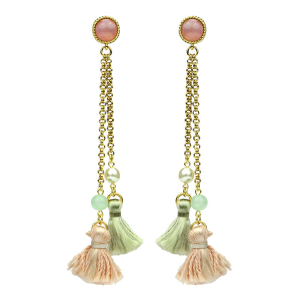 Spring Blush Long Tassel Drop Earrings - Ben-Amun