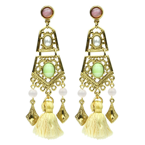 Spring Blush Garden Gate Tassel Drop Earrings - Ben-Amun