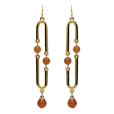 Semi Precious Long Drop Carnelian Stone Earrings