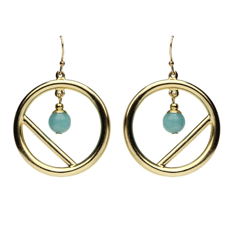 Semi Precious Circle Amazonite Earrings
