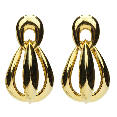 Semi Precious Gold Clip Earrings