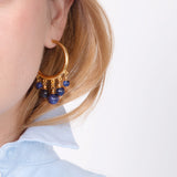 Semi Precious Hoop Navy Stone Earrings