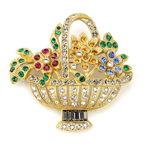 Crystal Flower Basket Brooch